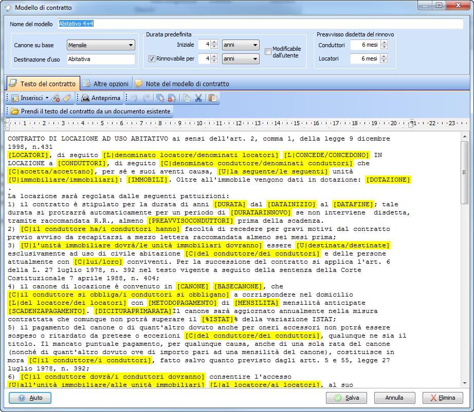 Dettagli e funzionalit di datos gestione affitti for Rinnovo contratto affitto